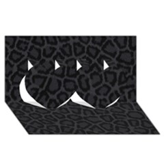 BLACK LEOPARD PRINT Twin Hearts 3D Greeting Card (8x4)