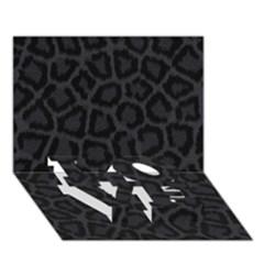 Black Leopard Print Love Bottom 3d Greeting Card (7x5)