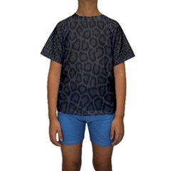 BLACK LEOPARD PRINT Kid s Short Sleeve Swimwear