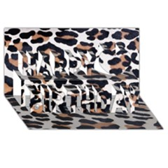 Black And Brown Leopard Happy Birthday 3d Greeting Card (8x4)