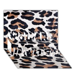 BLACK AND BROWN LEOPARD YOU ARE INVITED 3D Greeting Card (7x5)