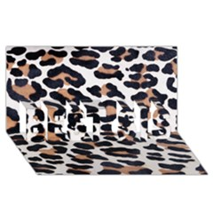 Black And Brown Leopard Best Sis 3d Greeting Card (8x4)
