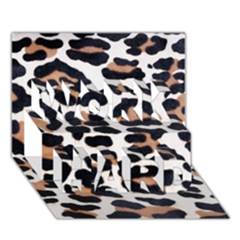 BLACK AND BROWN LEOPARD WORK HARD 3D Greeting Card (7x5)