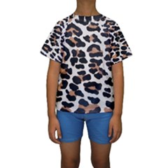 BLACK AND BROWN LEOPARD Kid s Short Sleeve Swimwear
