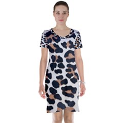 BLACK AND BROWN LEOPARD Short Sleeve Nightdresses
