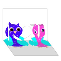 Owl Couple  I Love You 3d Greeting Card (7x5)