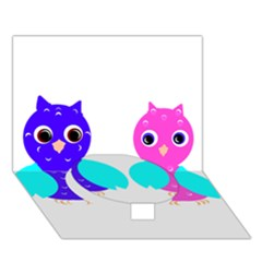 Owl Couple  Circle Bottom 3d Greeting Card (7x5)
