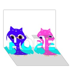 Owl Couple  Hope 3d Greeting Card (7x5)