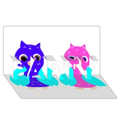 Owl Couple  Party 3d Greeting Card (8x4)