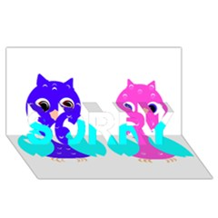 Owl Couple  Sorry 3d Greeting Card (8x4)