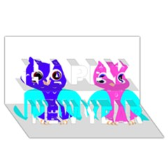 Owl couple  Happy New Year 3D Greeting Card (8x4)