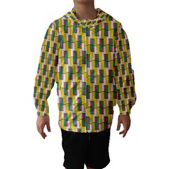 Connected rectangles pattern Hooded Wind Breaker (Kids)