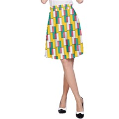 Connected rectangles pattern A-line Skirt