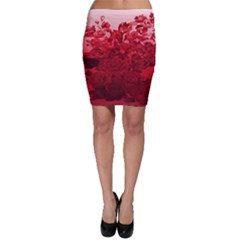 Red Tinted Roses Collage 2 Bodycon Skirts