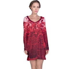 Red Tinted Roses Collage 2 Long Sleeve Nightdresses