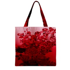 Red Tinted Roses Collage 2 Zipper Grocery Tote Bags