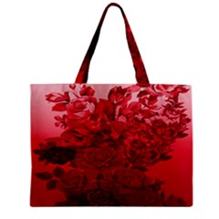 Red Tinted Roses Collage 2 Zipper Tiny Tote Bags