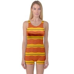 Red waves Women s Boyleg One Piece Swimsuit