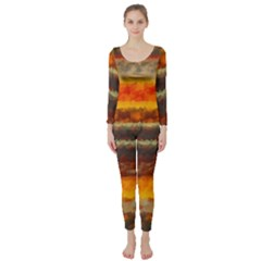 Fading shapes texture  Long Sleeve Catsuit