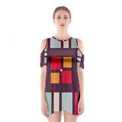 Squares and stripes  Women s Cutout Shoulder Dress