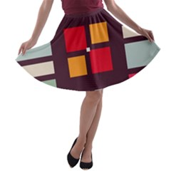 Squares And Stripes  A Line Skater Skirt