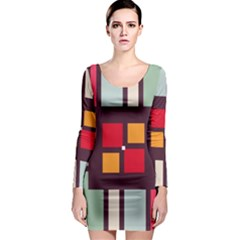 Squares And Stripes  Long Sleeve Bodycon Dress