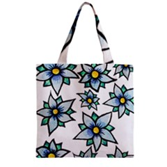 Blue flowers cute spring Zipper Grocery Tote Bags