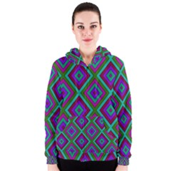 Diamond Pattern  Women s Zipper Hoodies
