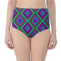 Diamond Pattern  High Waist Bikini Bottoms