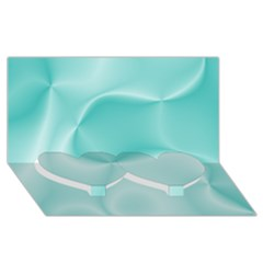 Colors In Motion,teal Twin Heart Bottom 3d Greeting Card (8x4)