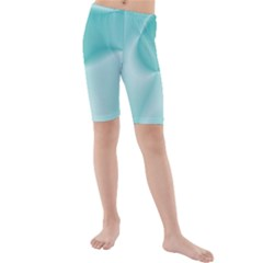 Colors In Motion,teal Kid s Mid Length Swim Shorts