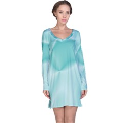 Colors In Motion,teal Long Sleeve Nightdresses