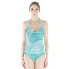 Colors In Motion,teal Women s Halter One Piece Swimsuit