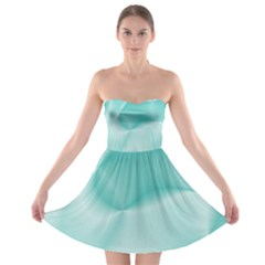 Colors In Motion,teal Strapless Bra Top Dress