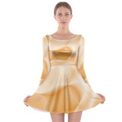 Colors In Motion,peach Long Sleeve Skater Dress