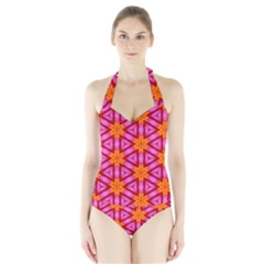 Cute Pretty Elegant Pattern Women s Halter One Piece Swimsuit