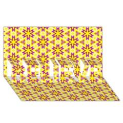 Cute Pretty Elegant Pattern Believe 3d Greeting Card (8x4)