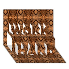 Faux Animal Print Pattern Work Hard 3d Greeting Card (7x5)