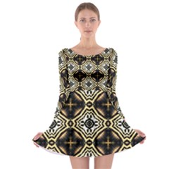 Faux Animal Print Pattern Long Sleeve Skater Dress