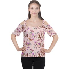 Antique Floral Pattern Women s Cutout Shoulder Tee
