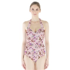 Antique Floral Pattern Women s Halter One Piece Swimsuit