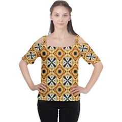 Faux Animal Print Pattern Women s Cutout Shoulder Tee