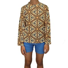 Faux Animal Print Pattern Kid s Long Sleeve Swimwear