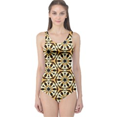 Faux Animal Print Pattern One Piece Swimsuit