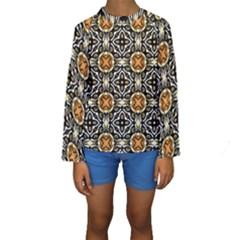 Faux Animal Print Pattern Kid s Long Sleeve Swimwear