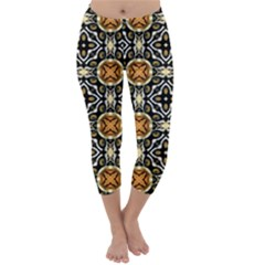 Faux Animal Print Pattern Capri Winter Leggings