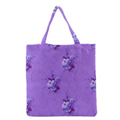 Purple Roses Pattern Grocery Tote Bags