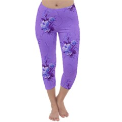 Purple Roses Pattern Capri Winter Leggings