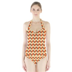 Modern Retro Chevron Patchwork Pattern  Women s Halter One Piece Swimsuit