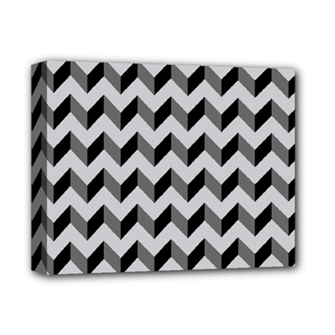 Modern Retro Chevron Patchwork Pattern  Deluxe Canvas 14  x 11